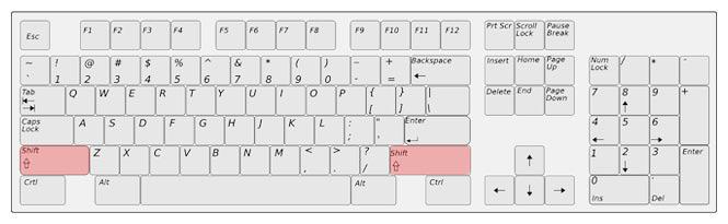 Kde se nachází klávesa Shift