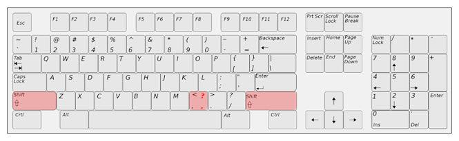 Znak menší přepnutím na anglickou klávesnici